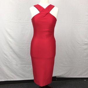 Ted Baker Red Erskine Snake Jacquard Midi Dress